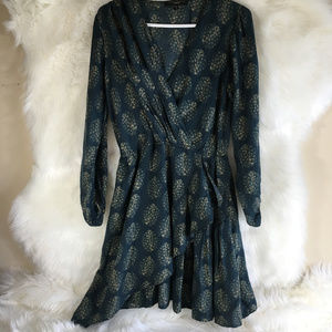 Sanctuary Anthropologie Dress Blue Gold Feather